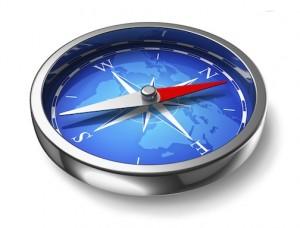 Blue metal compass
